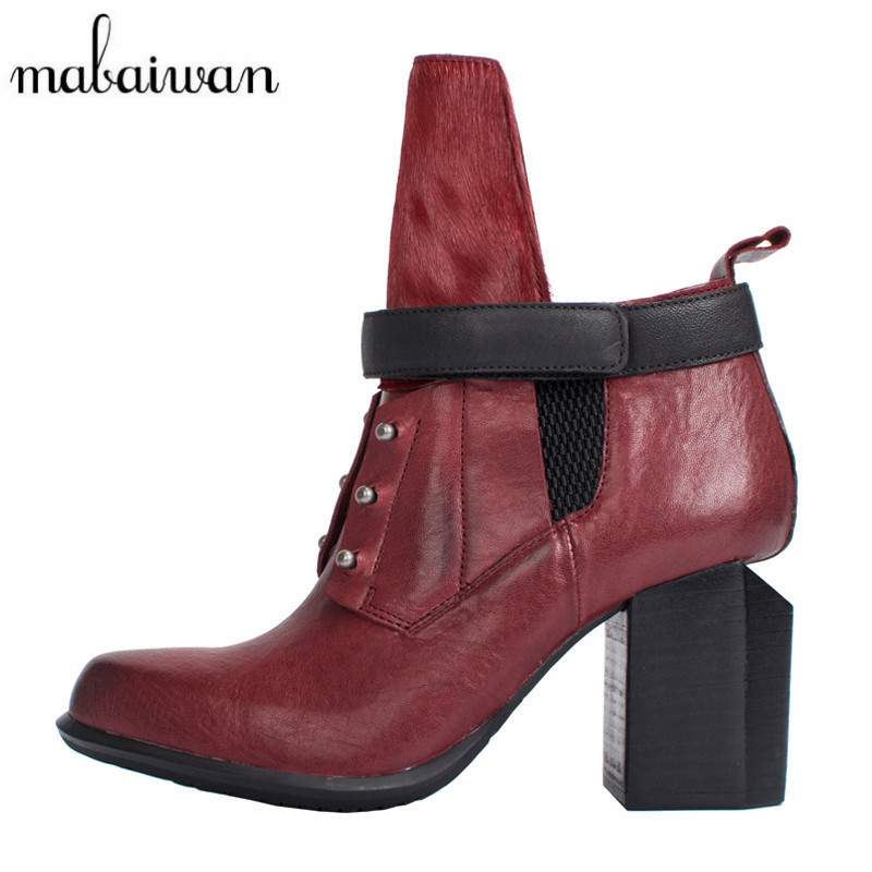 Mabaiwan Designer Ankle Boots for Women Genuine Leather High Heel Shoes Woman Female Autumn Chunky Heel Short Boats Women Pumps women s genuine suede leather hemp wedge platform slip on autumn ankle boots brand designer leisure high heeled shoes for women