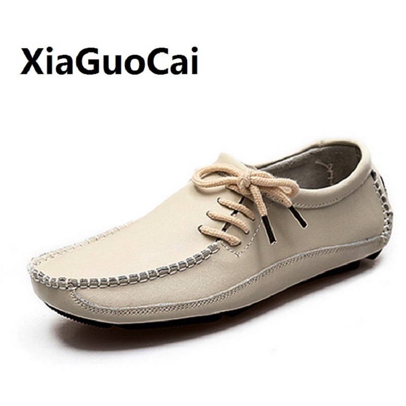 Big Size 39-47 Spring Men Casual Shoes Genuine Leather Breathable Drive Shoes Walking Handmade Flat Boat Shoes for Man Lace Up bimuduiyu new england style men s carrefour flat casual shoes minimalist breathable soft leisure men lazy drivng walking loafer