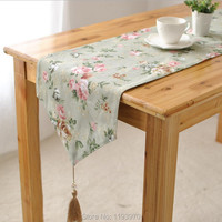 Free Shipping Hot Sale Europe Printed Blue Flower Table Runner Cloth Fashion Wedding Home Hotel Table
