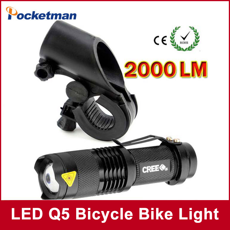 LED Bike Light 2000 Lumens Q5 LED Bicycle Light Cycling Zoomable Flashlight Mini Torch Bike Front Head Light With Mount mini stainless steel led flashlight xml t6 torch light lanternas zoomable lampe torche for bike bicycle cycling light