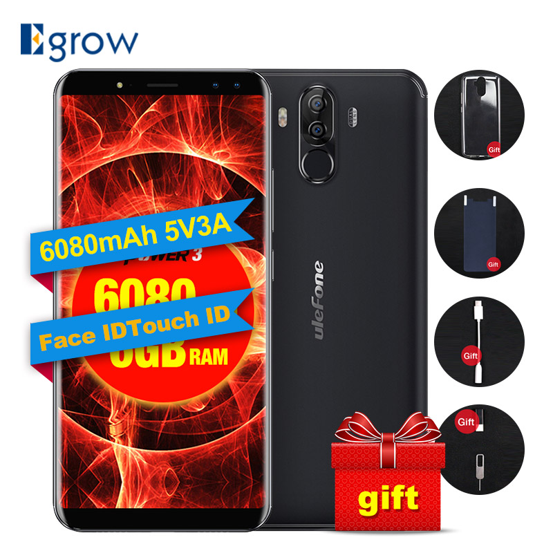 "Ulefone Power 3 6.0"" 18:9 4G Mobile Phone P23 Octa Core Android 7.1 6GB+64GB 21MP+5MP Quad Camera 6080mAh Face ID Smartphone"