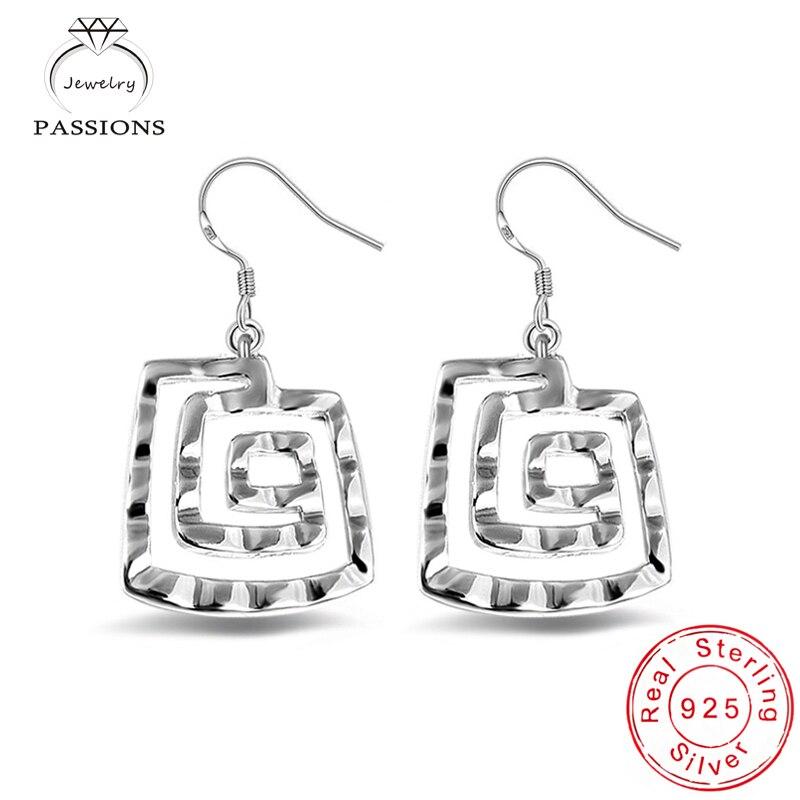 Newest Bohemia 925 Sterling Silver Rose Drop Earrings Vintage Spiral Shape Earring Dangle For Women Jewelry Earrings Wholesale