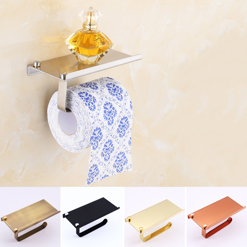 Stainless <font><b>Steel</b></font> Roll <font><b>Towel</b></font> Tissue Paper Holder With Mobile Phone Shelf Rack Toilet Tissue Boxes Kitchen Bathroom Accessories
