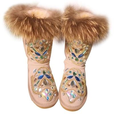 Nouveau Style femmes troupeau en cuir cristal décoration bottes de neige bout rond sans lacet mi-mollet bottes d'hiver fourrure talon plat chaussons