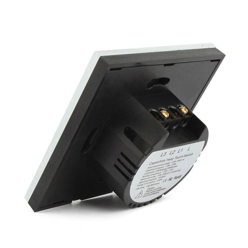 Elite Kilter EU/UK стандартный настенный Дистанционное управление освещением 220 В сенсорный выключатель 1 банда 6 способов розетка с разными гнездами белое Хрустальное стекло - 3