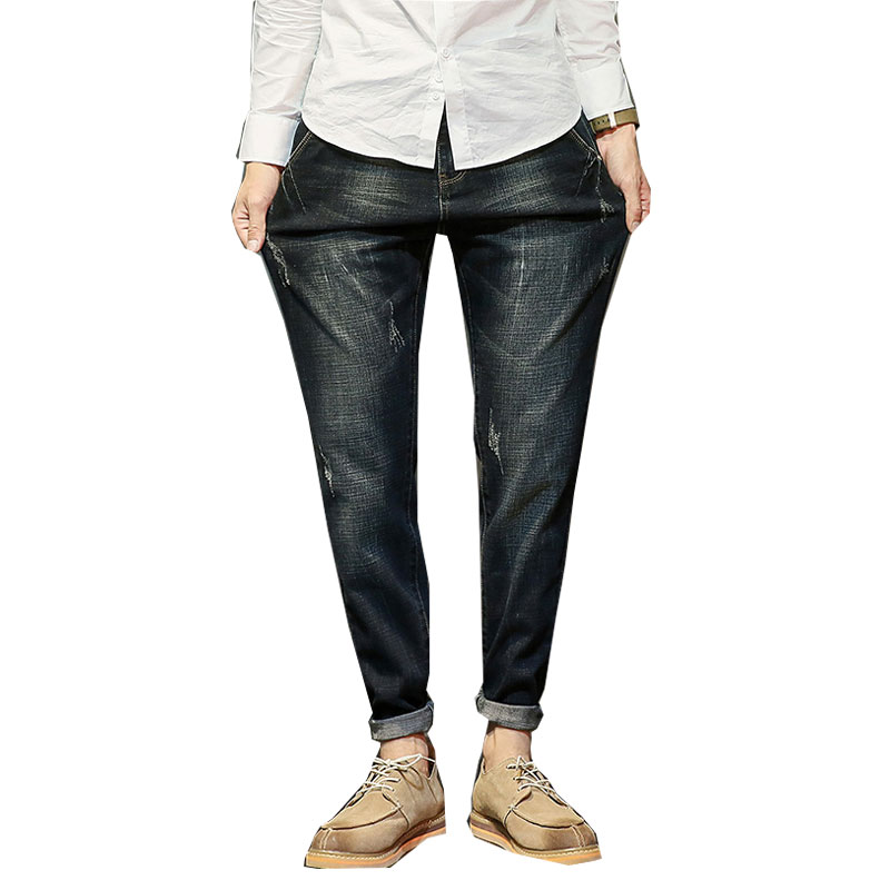 Jeans Men Elastic Pants Loose Harlan Pants Large Size Feet Harlan Pants Male Denim Overa ...