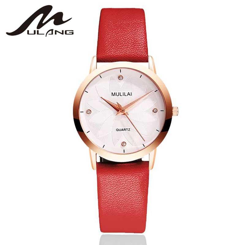 MULILAI Marca Moda Ladies Relojes de Cuero Reloj de Cuarzo Femenino - Relojes para mujeres
