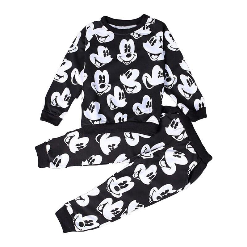 2016 baby jente gutt klær sett Høst barneklær Mickey baby gutter joggesko setter 100% bomull sweatshirts + bukser