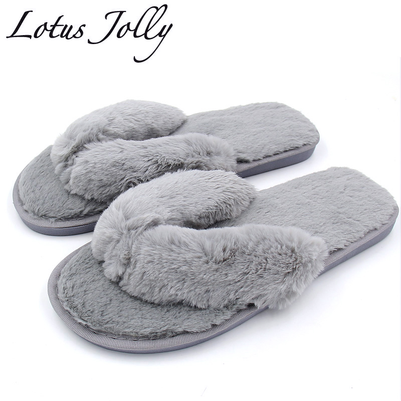 2017 autumn winter women bedroom slippers fur flip flops - Ladies bedroom slippers with heel ...