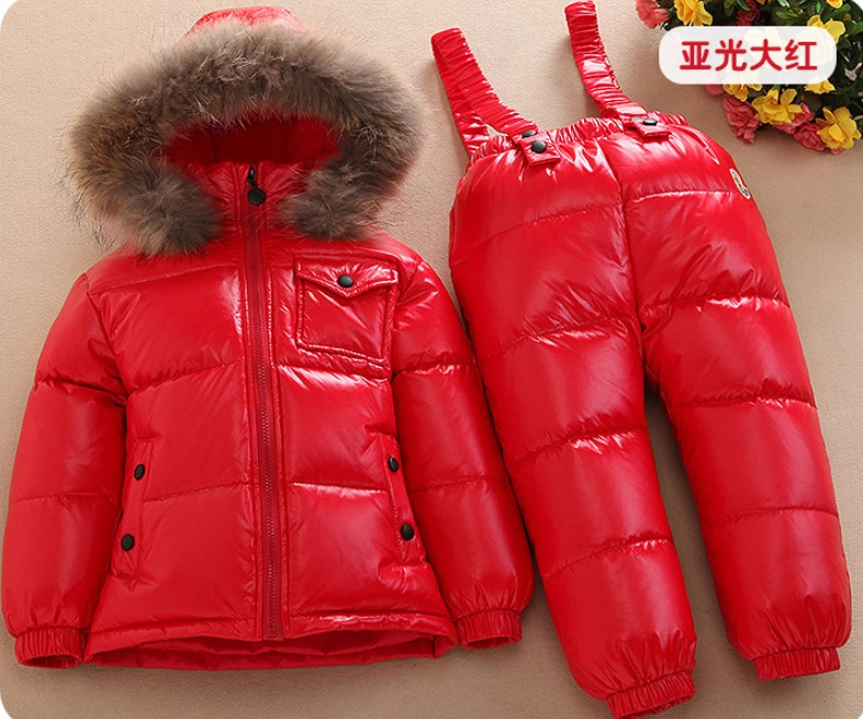 Childrens down jacket set winter new infant baby bib boy male child girl scorpion hair ski suitChildrens down jacket set winter new infant baby bib boy male child girl scorpion hair ski suit