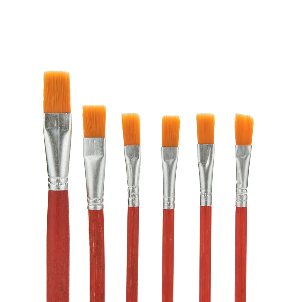 6 Pcs Artist Paint Brush Nylon Hair Watercolor Acrylic Oil ...