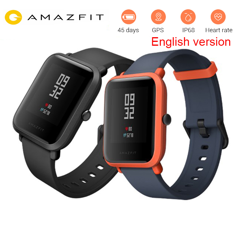 Huami amazfit Bip Smart Watch English Version GPS Tacker Heart Rate monitor IP68 Waterproof watch Xiaomi watch For Android IOS huami amazfit smart watch xiaomi smartwatch bip bit face gps fitness tacker heart rate ip68 waterproof english version