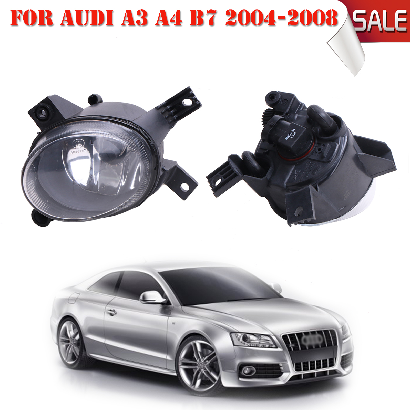 For Audi A4 B7 A3 2004-2008 Front Bumper Driving Fog Grill Lights Lamp Replaces 8E0941700 / 8E0941699 #P318 pair car 55w h11 front bumper driving fog light lamp for audi a4 b6 sedan 02 05 03 04