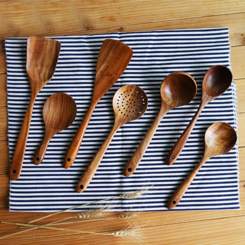 Cooking Utensils Kitchenware Spatula Hanging-Tool Lightweight Spoon Wooden Home Durable