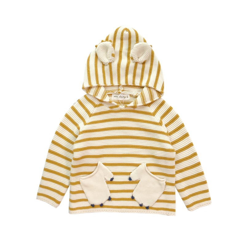 9af32d37b 2018 New Arrival Autumn Unisex Baby Striped Sweater Kids Girl Outwear Boy  Bear Clothes With Hat Spliced Long Sleeve Swearter