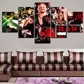 5 Panel Wall Art pared fotos lienzo de pintura pintura al óleo en lienzo personajes de la película Scarface pared Pictures para sala de estar arte enmarcado