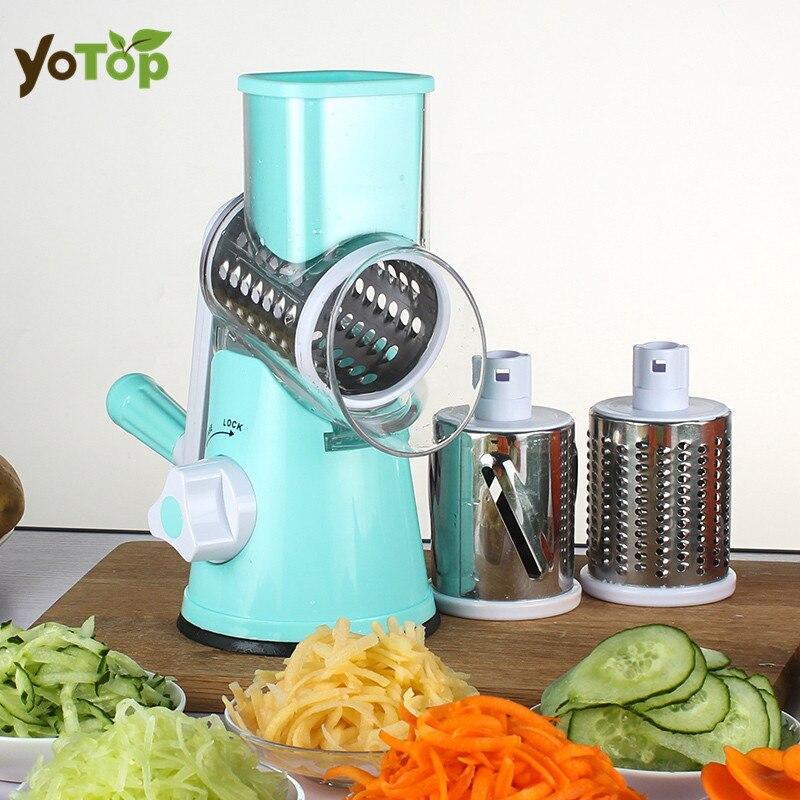YOTOP Vegetable Mandoline Slicer Potato Julienne Carrot Cutter Cheese Grater Round Stainless Steel Blades Kitchen Tool
