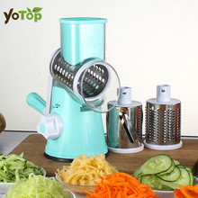YOTOP Vegetable Mandoline Slicer Potato Julienne Carrot Cutter Cheese Grater Round Stainless Steel Blades Kitchen Tool