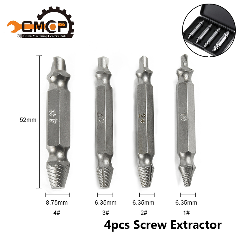4PCS Speed Out Damaged Screw Extractor & Bolt Extractor Set Drill Bit Screw Extractor Set