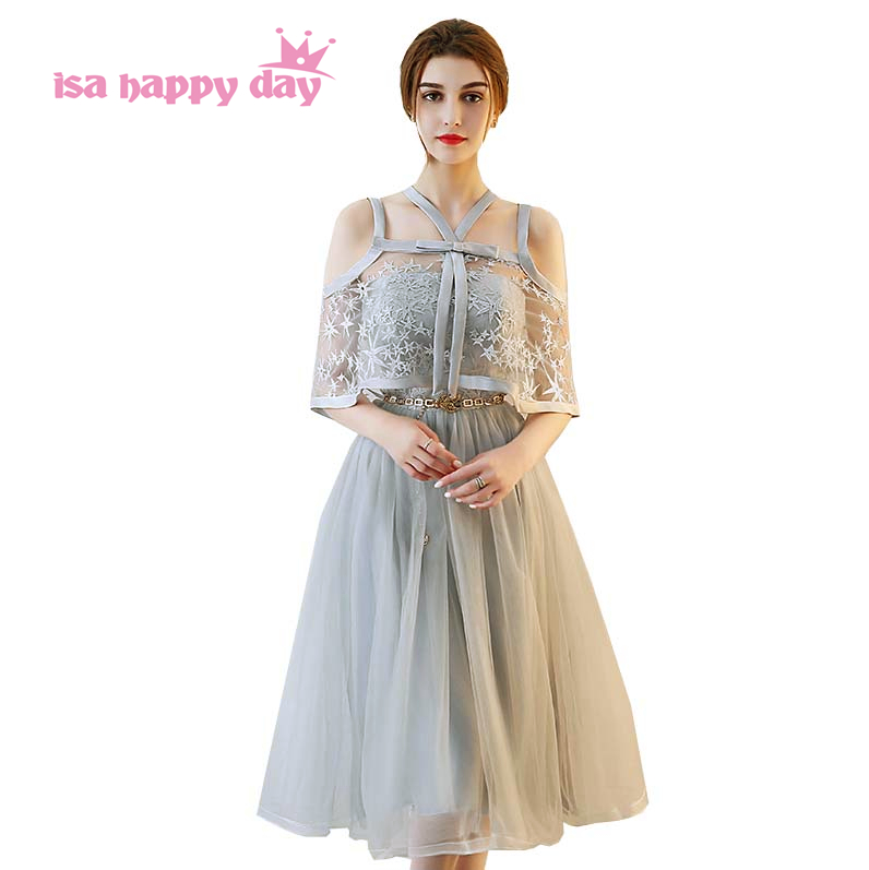 cheap modest tea length formal event gray lace and tulle tiered teenager party   dresses   for women vintage   prom     dress   H4154