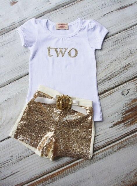 День рождения Экипировка-Девочки Одежда Рождения-Торт Smashing Наряд-Золото рубашка и Шорты Блесток-Блеск Золота день рождения Рубашка