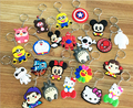 Mixed lot diy Hot beautiful soft PVC silicone charms Keychain, cute cartoon anime gift key pendant rubber Key chain Ring jewelry