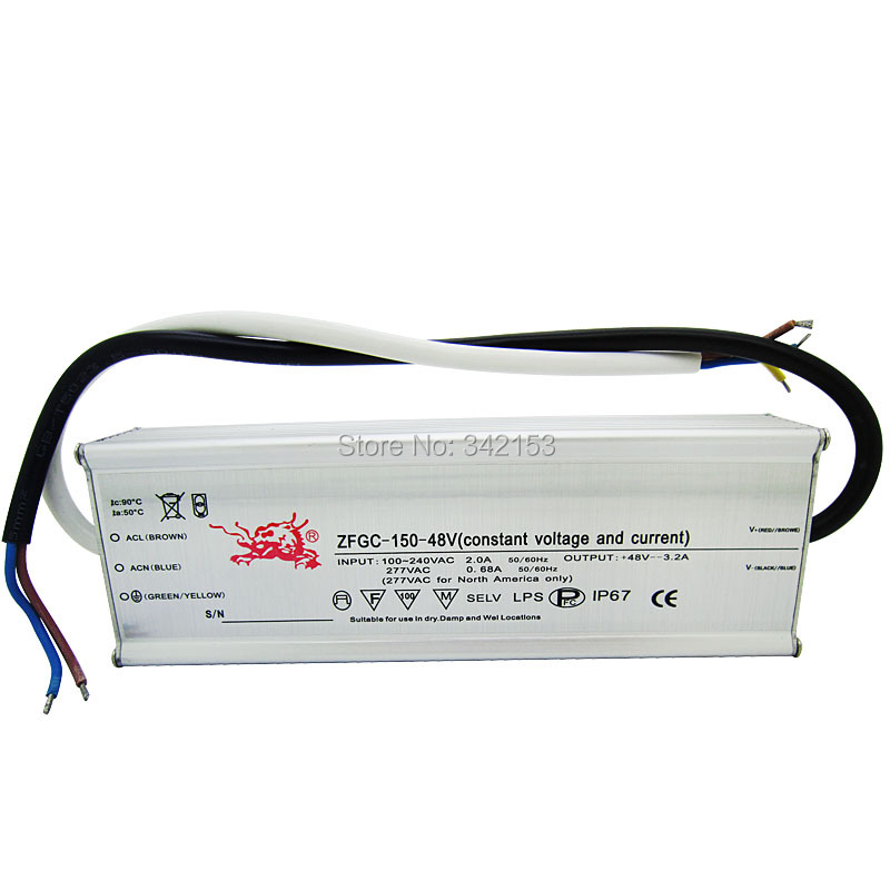 ФОТО IP67 Waterproof Lighting Transformers 38-48V 3.2A 150W High Power Constant Current Led Driver For DIY Lamp Light Power Supply