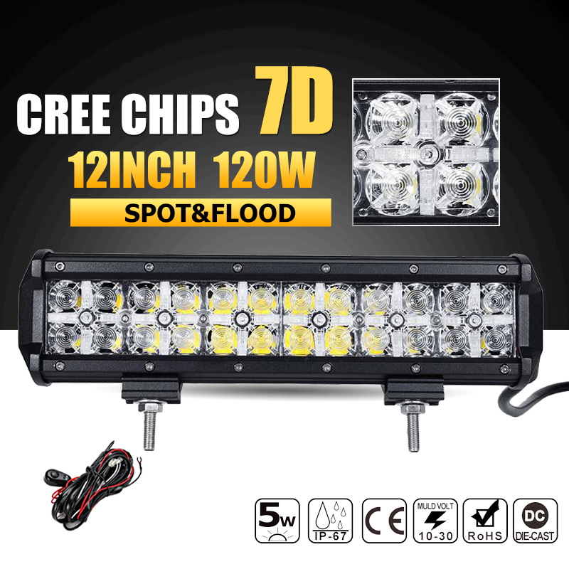 Oslamp 7D 120W 12 LED Work Light Bar CREE Chips Led Bar Offroad Spot/Flood Truck SUV ATV 4x4 4WD Driving 12v 24v Led Bar Lights парфюмерная вода alan bray высший свет eclat d'etoile 50 мл