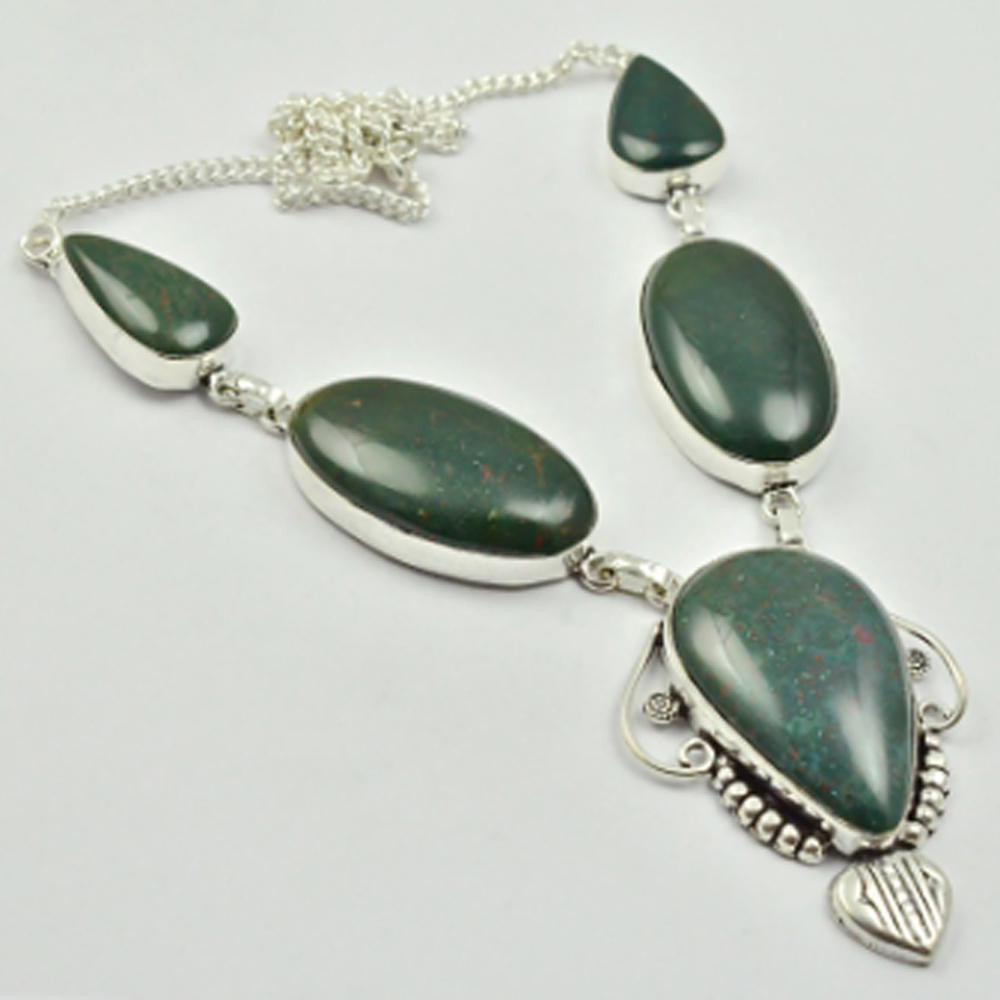 Bloodstone Necklace Silver Overlay over Copper 47cm N2822 in Chain Necklaces from Jewelry Accessories