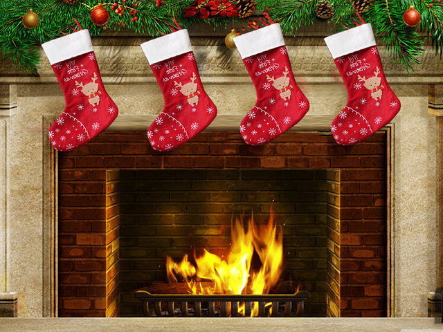 christmas reindeer socks santa claus gift stocking christmas present stocking fireplace decorations christmas home decorations - Christmas Present Decoration