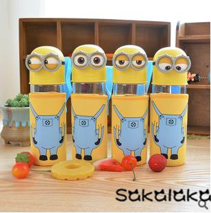 300ml cute minions cartoon glass portable drinking water bottle with