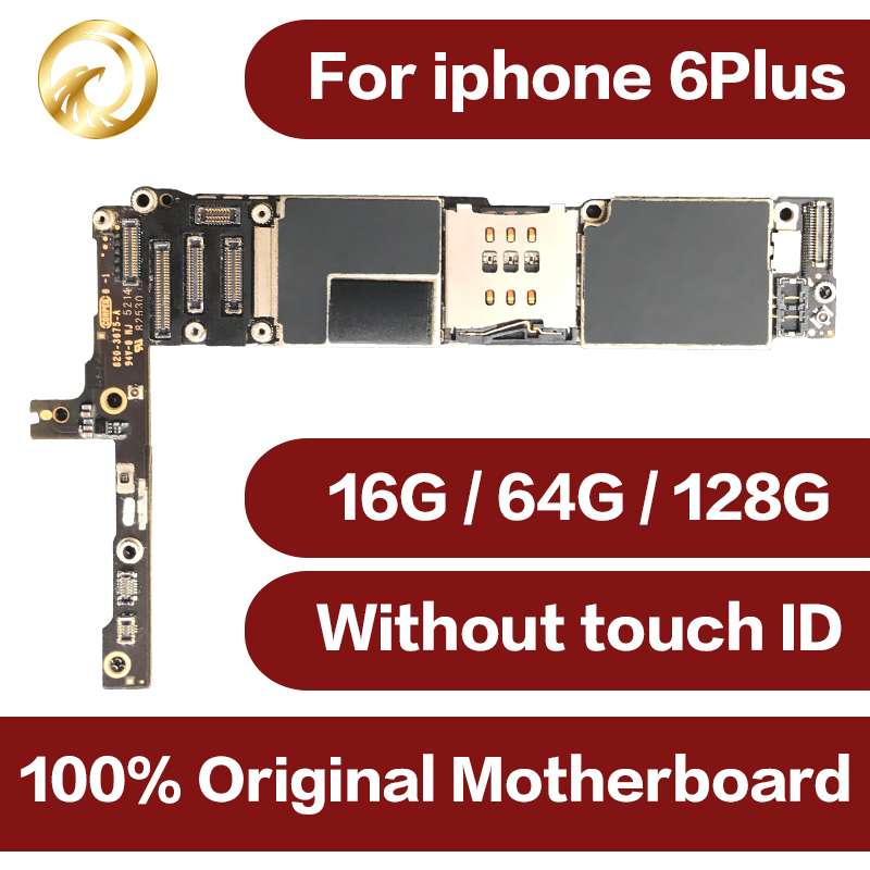 For Original iPhone 6 Plus Motherboard 16GB 64GB 6plus IOS System Mainboard Full Unlocked No Touch ID Logic Board Good Working