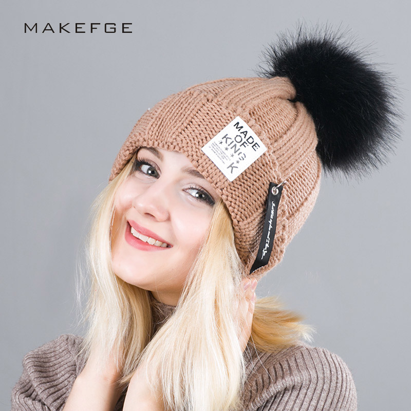 2017 New Fashion Pompons Skullies Beanies Winter Cap For Women Knit Hat Patch Stripes PomPoms Knitting Skullies Cap