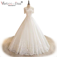 VARBOO ELSA Elegant White Lace Short Sleeve Wedding Dress Custom High Quality Bridal Gown Sexy Boat