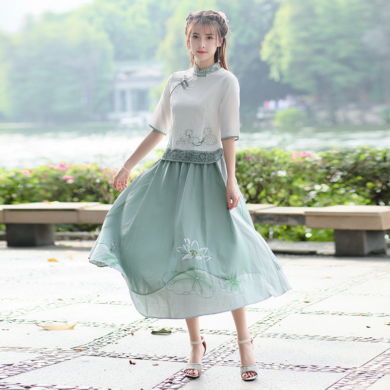SHENG COCO M-5XL Linen Suits Ladies Hanfu Woman Traditional Chinese Skirt Suits Qipao Tops And Skirt Suits Guzheng Set Plus Size