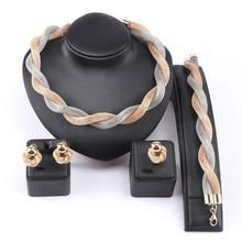 Купить с кэшбэком Women African Beads Jewelry Set Wedding Twist Weave Choker Necklace Earring Ring Bracelet Bridal Dubai Ethiopian Jewellery Sets