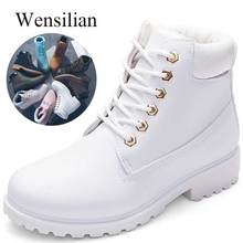 Designer Winter Ankle Snow Boots For Women Female Warm Fur White Boots Lace Up Bota Feminina Shoes For Women Botas Mujer
