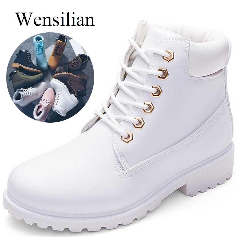 Designer de Inverno Botas de Neve do Tornozelo Para As Mulheres Do Sexo Feminino de Pele Quente Botas Brancas Rendas Até Bota Feminina Sapatos Para Mulheres Botas mujer
