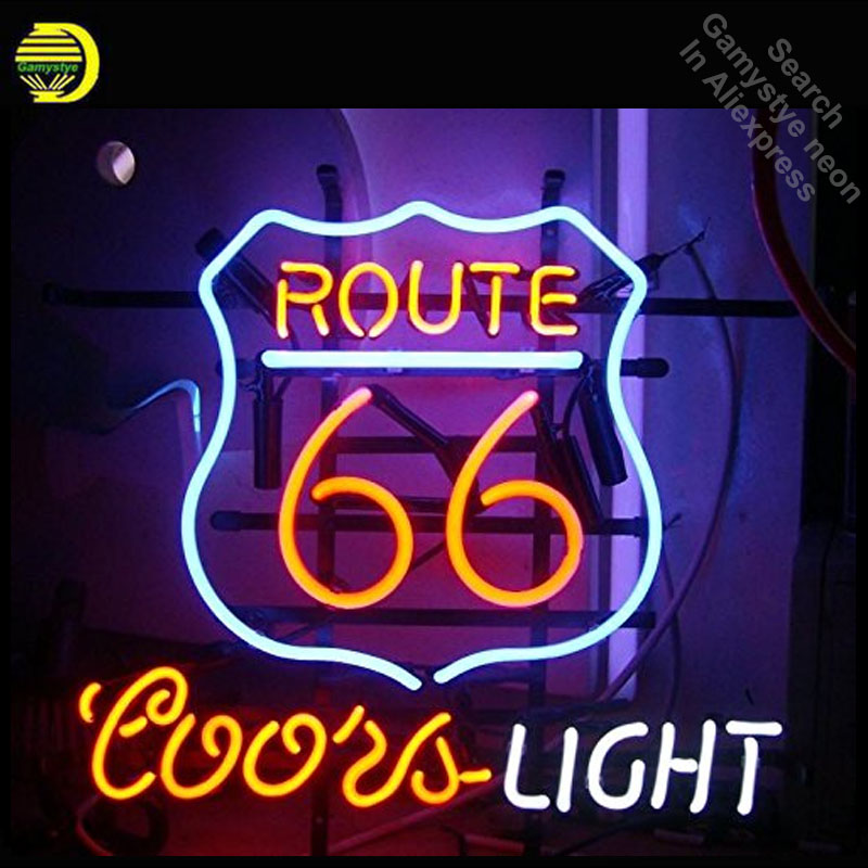 Us 97 02 23 Off Neon Sign For Route 66 Coors Light Bulb Handcraft Gl S Decorate Windows Lights Personalized Lighted Signs In