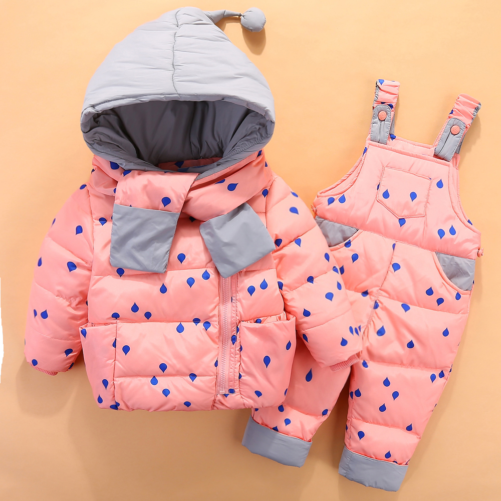 New children's baby down jackets 1-2-3 year old baby boy girl's ski suit clothing sets the 1 000 year old boy