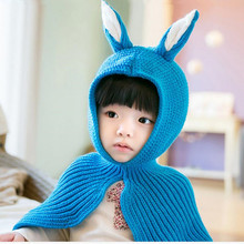 baby winter hat girls hats skullies beanies children cap blue rabbit hat for kids pink fashion shawl scarf neck warmer wholesale
