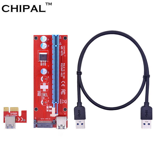 CHIPAL 60CM PCI-E 1X to 16X Riser Card Converter PCIE Extender + USB 3.0 Cable / 15Pin SATA Molex Power Supply for BTC Mining