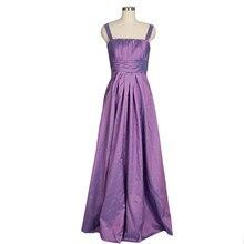 Lila Taft Abendkleid Mit Trägern Eine Linie Lange Formale Frauen Kleid Modest Abendkleid Benutzerdefinierte Größe