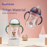 Botella de agua de bebé de Sunveno taza de Sippy suave copa de gravedad Bola de paja Tipo V diseño antichoques para bebé 6-24 M