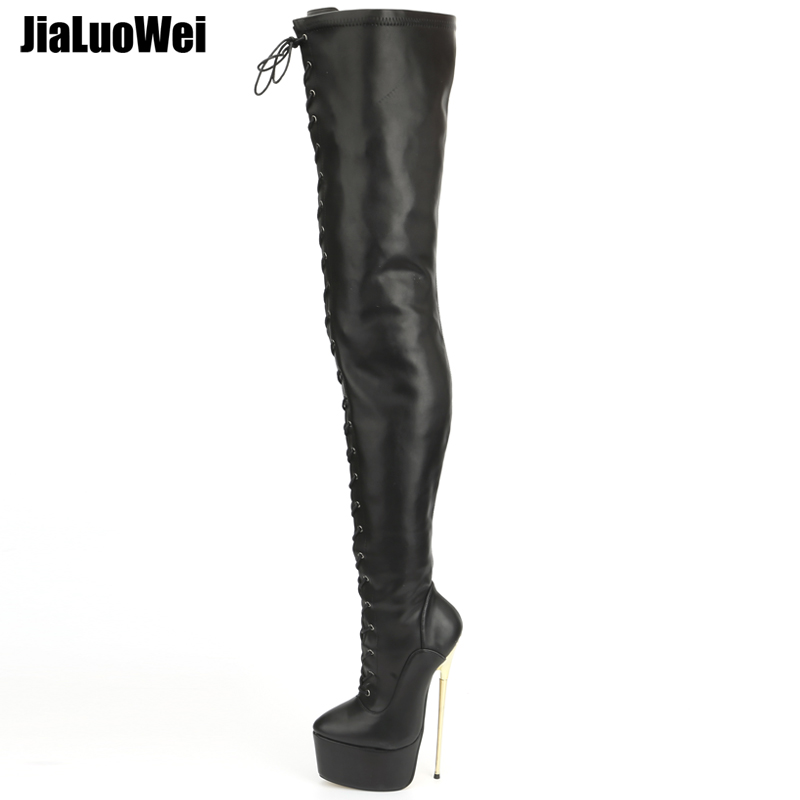 jialuowei 2018 New Women 22CM Ultra High Heel Lace-Up Platform Gold Metal Stiletto Heels Pointed Toe Over Knee Crotch High Boots jialuowei women sexy fashion shoes lace up knee high thin high heel platform thigh high boots pointed stiletto zip leather boots