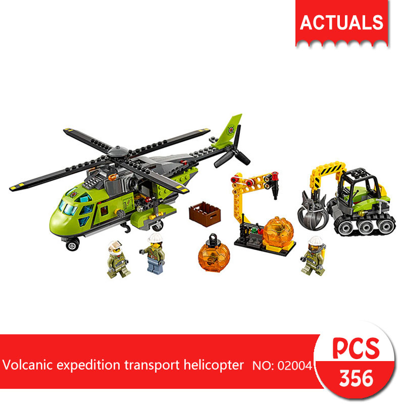 Lepin 02004 356Pcs City series Volcanic expedition transport helicopter Model Building Blocks  Bricks Toys For Children Gift lepin city town city square building blocks sets bricks kids model kids toys for children marvel compatible legoe