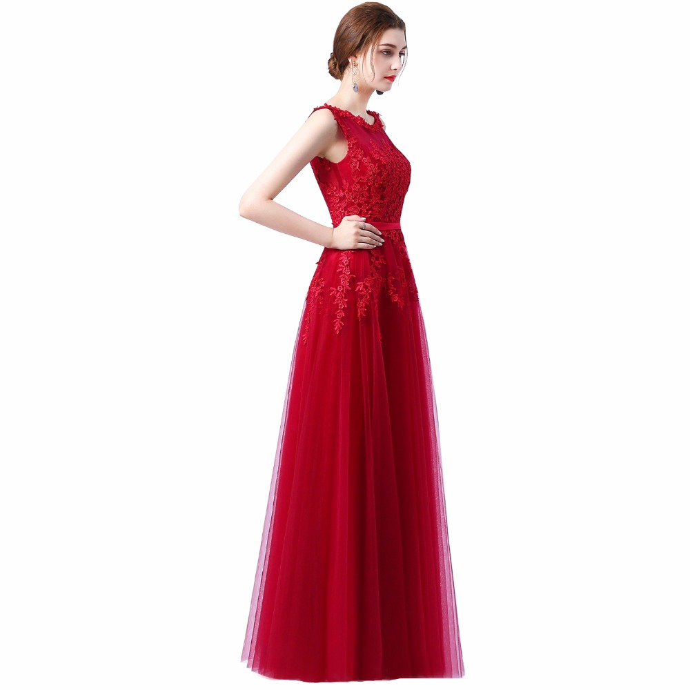Robe de soiree 2018 Baru manis renda merah jambu panjang gaun malam - Gaun acara khas - Foto 3