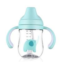 Taza de alimentación de bebé recién nacido 260 ml para niños pequeños taza de entrenamiento con paja niños aprender a alimentar la botella con mango
