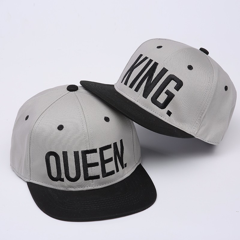 "Embroidered ""King and Queen"" Snapback Cap Set - Grey Cap with Black Embroidery and Black Brim"