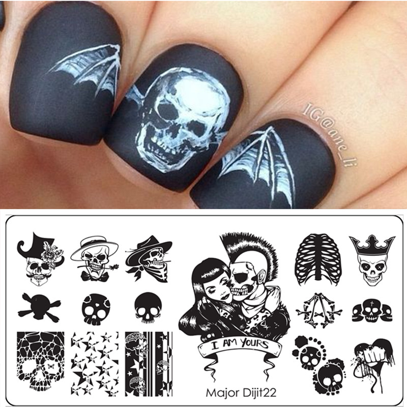 new 1 pcs halloween skull design nail stamping plates image stamping nail art manicure template stencils